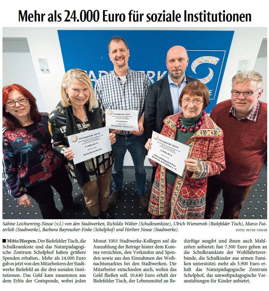 Stadtwerke Bielefeld Centspende 2019